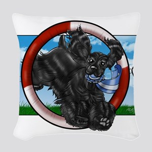 Black Cocker Spaniel Woven Throw Pillow