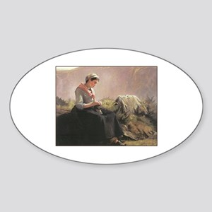 Girl with Yarn and Knitting Oval Sticker