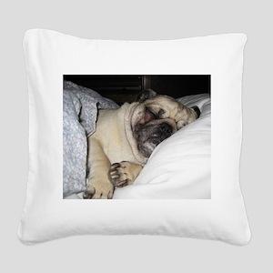 Sleepy Pug Square Canvas Pillow