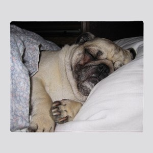 Sleepy Pug Throw Blanket