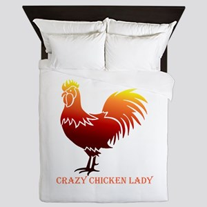 Crazy Chicken Lady Fun Quote With Queen Duvet