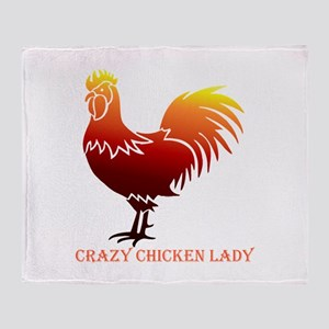 Crazy Chicken Lady Fun Quote with Rooster Throw Bl
