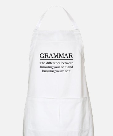grammar knowing your shit Apron