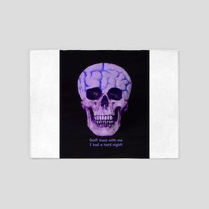 Skull hard night 5'x7'Area Rug