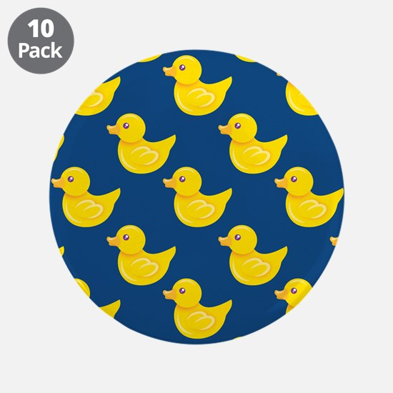 """Blue and Yellow Rubber Duck, Ducky 3.5"""" Button (10"""