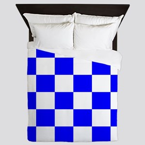 Blue and white checkerboard Queen Duvet