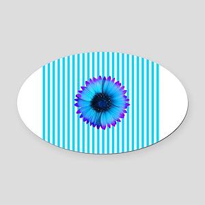Blue Purple Flower on Stripes Oval Car Magnet