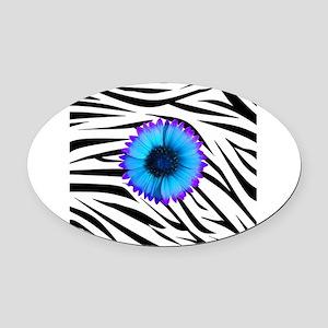 Blue and Purple Flower on Zebra Oval Car Magnet
