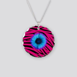 Blue and Purple Flower on Pink Zebra Necklace