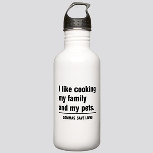 Commas save lives Water Bottle