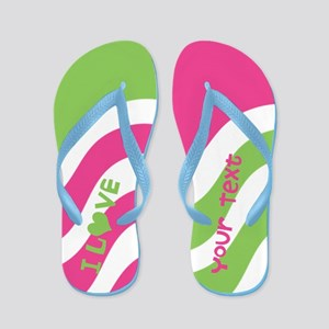 Wiggly Pink Green I Heart Custom Text Flip Flops