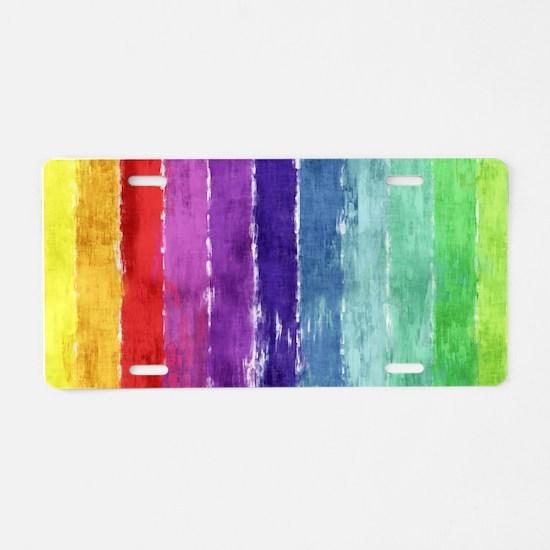 Geometric Stripes Watercolor Aluminum License Plat