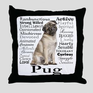 Pug Traits Throw Pillow