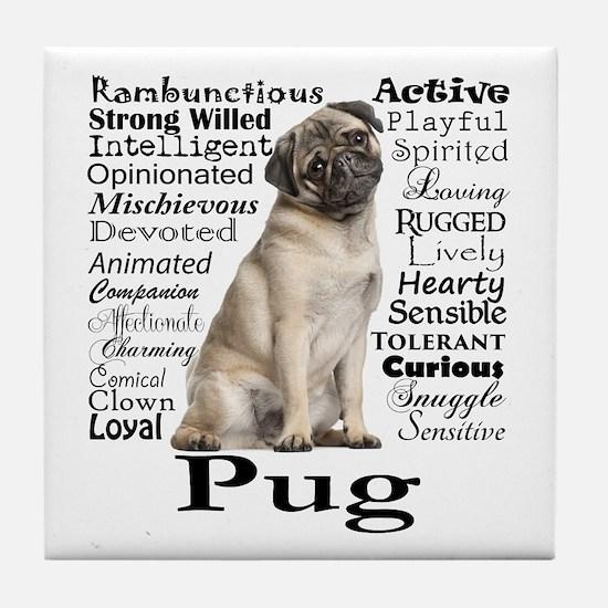 Pug Traits Tile Coaster
