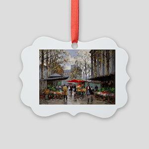Flower Market at La Madeleine Picture Ornament