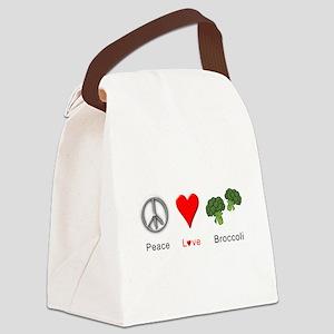 Peace Love Broccoli Canvas Lunch Bag