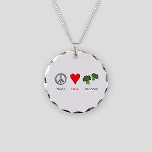 Peace Love Broccoli Necklace Circle Charm