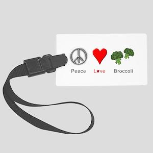 Peace Love Broccoli Large Luggage Tag