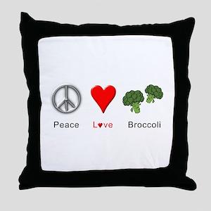 Peace Love Broccoli Throw Pillow