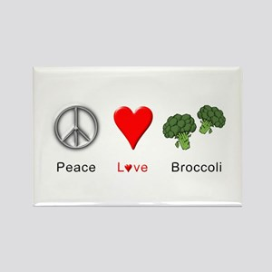 Peace Love Broccoli Rectangle Magnet