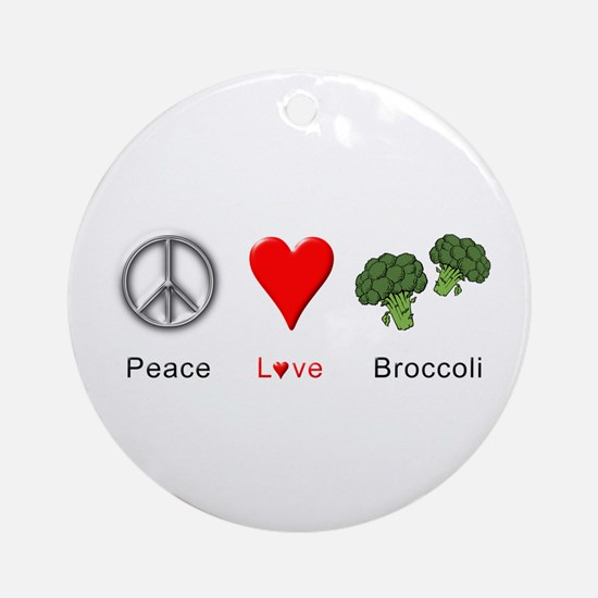 Peace Love Broccoli Ornament (Round)