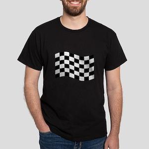 Waving Black White Checkered Flag T-Shirt