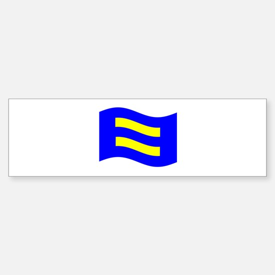 Waving Human Rights Equality Flag Bumper Bumper Bumper Sticker