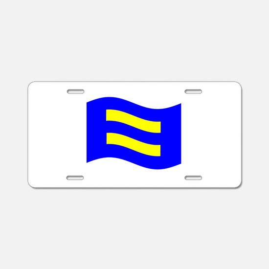 Waving Human Rights Equality Flag Aluminum License
