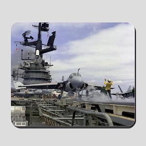 USS Coral Sea Cat Launch Mousepad