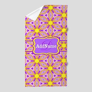 Pink and Yellow Floral Custom Monogram Beach Towel