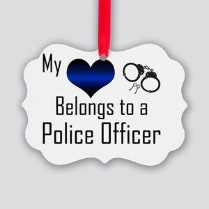 My Heart Belongs to a Police Offi Picture Ornament