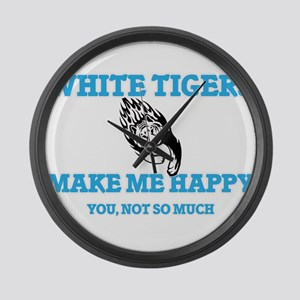 White Tigers Make Me Happy Large Wall Clock