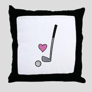 Heart Golf Ball Throw Pillow