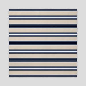 Blue Tan Stripes Pattern Queen Duvet