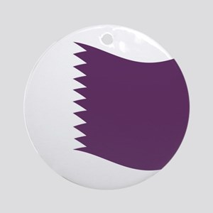 Waving Qatar Flag Ornament (Round)