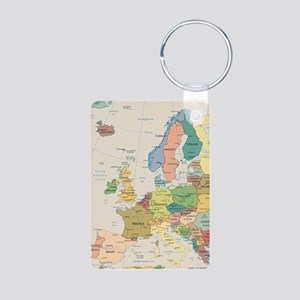 Europe Map Aluminum Photo Keychain