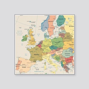 "Europe Map Square Sticker 3"" x 3"""