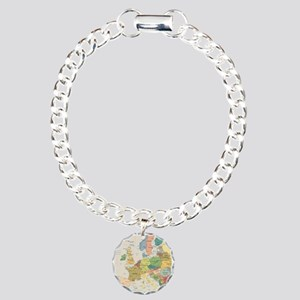 Europe Map Charm Bracelet, One Charm