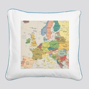 Europe Map Square Canvas Pillow