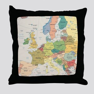 Europe Map Throw Pillow