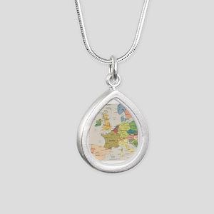 Europe Map Silver Teardrop Necklace