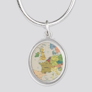 Europe Map Silver Oval Necklace