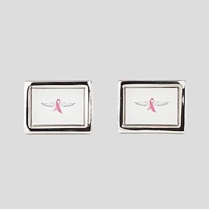 Pink Angel Wings Rectangular Cufflinks