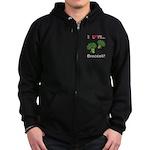 I Love Broccoli Zip Hoodie (dark)