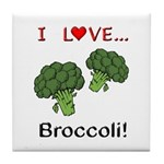 I Love Broccoli Tile Coaster