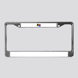 Waving South Africa Flag License Plate Frame