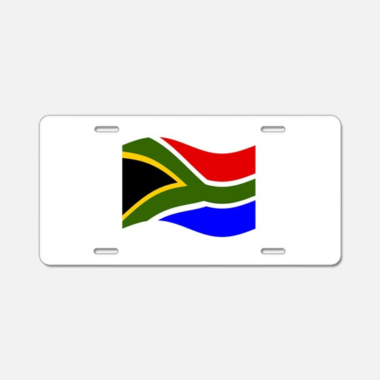 Waving South Africa Flag Aluminum License Plate