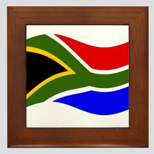 Waving South Africa Flag Framed Tile
