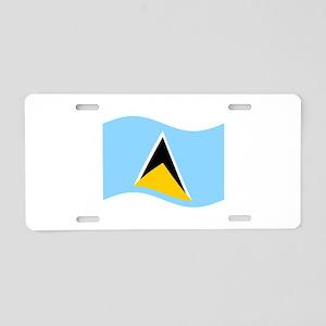 Waving St. Lucia Flag Aluminum License Plate