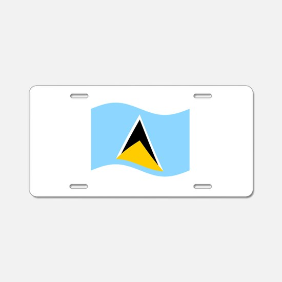 Waving St. Lucia Flag Aluminum License Plate